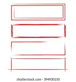 red hand drawn rectangle frames
