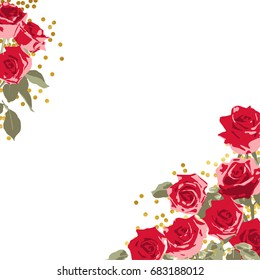 red hand drawn roses angular frames for design Vector illustration