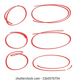 red hand drawn and sketch oval, circle markers or highlighter elements