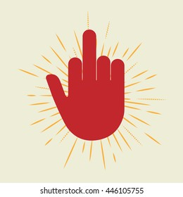 red hand with middle finger icon. concept of nonverbal, fuck you, brutal, rebel, furious, lifestyle, indecent. Flat style trend modern logo design vector illustration