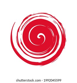 Red hand painted swirl symbol isolated on white background
