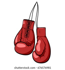 red handmade boxing gloves. hand drawn vector illustration isolated on white background