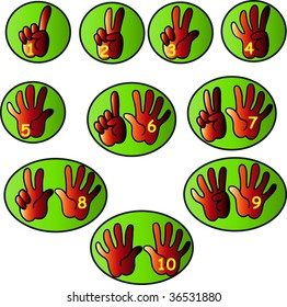 Red hands counting from 1 to 10 with fingers and yellow numbers in green bubbles icon vector