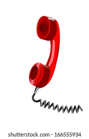 Red handset of telephone. Vector illustration