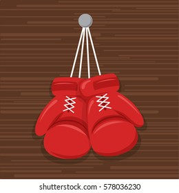 Red hanging boxing gloves nailed to wood wall. Modern Flat style. Vector illustration.