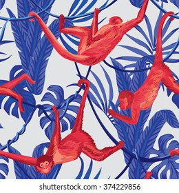 red hanging monkeys in the blue jungle seamless background