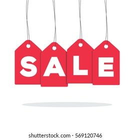 Red hanging price tag labels with sale word on it and with shadow isolated on white background. For sale campaigns.