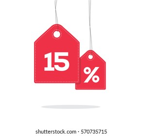 Red hanging price tag labels with 15% text on them and with shadow isolated on white background.