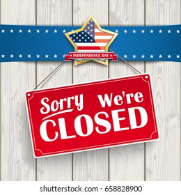 "Red hanging sign with text ""sorry, we're closed"".  Eps 10 vector file."