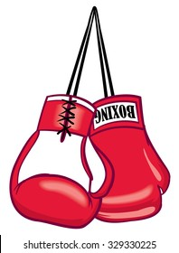 Red hanging sports fighter boxing gloves