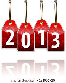 Red hanging tags with 2013. Vector illustration