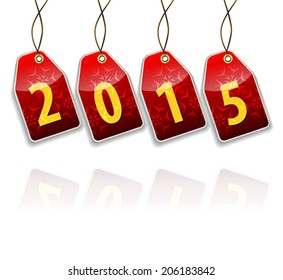 Red hanging tags with the 2015 year digits. Vector illustration