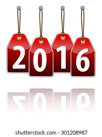 Red hanging tags with the 2016 year digits and transparent reflection. Vector illustration