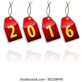 Red hanging tags with the 2016 year digits with full transparent reflection effect. Vector illustration