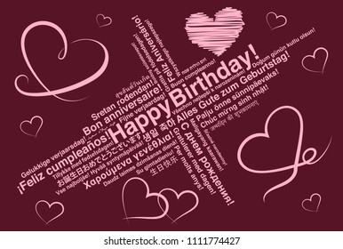 Red Happy Birthday in different languages wordcloud greeting card with heart shapes