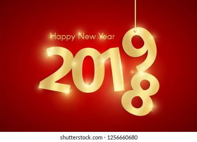 Red Happy New Year 2019 concept with golden shiny paper cuted numbers on ropes. Vector illustration