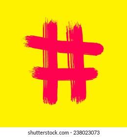 Red Hash sign on yellow - handmade brush.