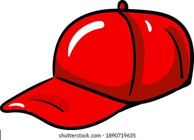 Red hat , illustration, vector on white background