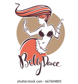 Red head belly dance lady image and lettering composition for your logo