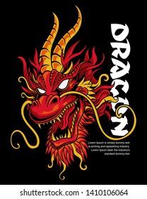 Red head Dragon Vector Illustration