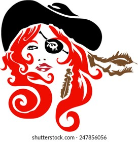 Red Head Pirate With Eye Patch And Feather