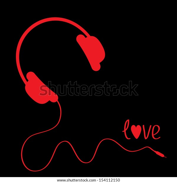 Red headphones with cord . Black background.  Love vector card.