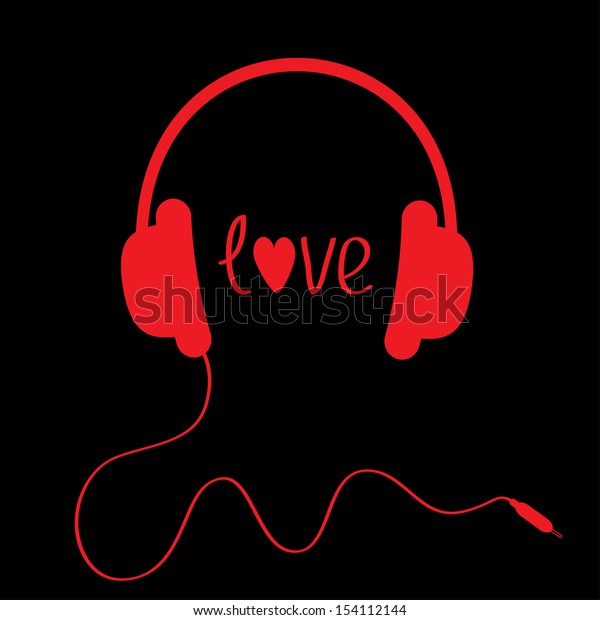 Red headphones with cord on black background. Love card. Vector illustration.