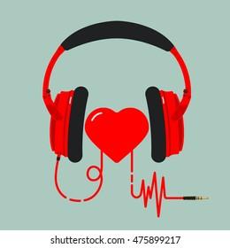 Red headphones. Heart rhythm.