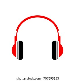 Red headphones icon on white background