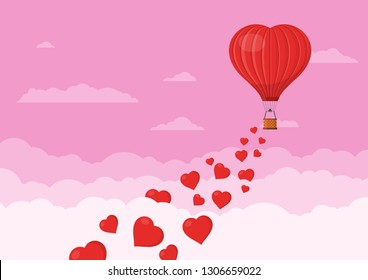 Red heart air balloons flying in the pink sky with clouds. Saint Valentine's day greeting card. Hot air balloon shape of a heart with basket. Vector illustration