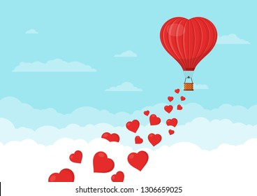 Red heart air balloons flying in the blue sky with clouds. Saint Valentine's day greeting card. Hot air balloon shape of a heart with basket. Vector illustration