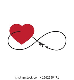 red heart and arrow stylized as infinity symbol, vector