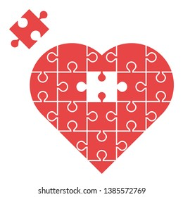 Red heart assembled from puzzles with one missing piece isolated on white background. Love, marriage and charity concept. Flat design. Vector illustration. EPS 8, no gradients, no transparency