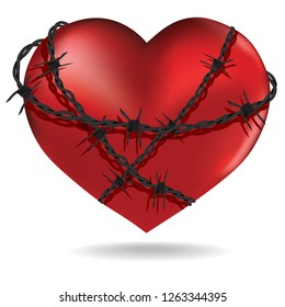 Red heart  with barbed metal wire 3d vector. Valentines design illustration sacred object.
