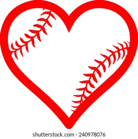 Red heart with baseball laces. I love baseball