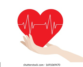 Red heart beat pulse in hand vector illustration. Medical and health design concept background