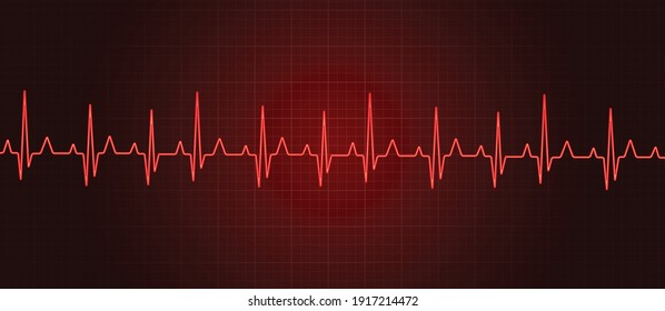 Red heart beat vector illustration background. Pulse rate vector.