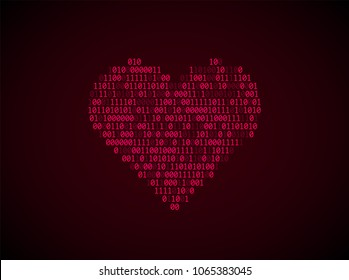Red heart of binary code. Concept of virtual love, online Dating, robotization, artificial intelligence