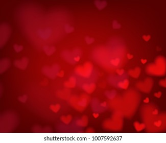 Red heart bokeh background. Concept template for valentine's day greeting card, banner, poster in vector illustration