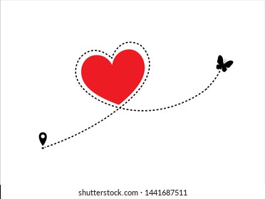 red heart butterfly   dash route design red heart route vector design Airplane line path icon of air plane flight route with start point and dash line trac. illustration