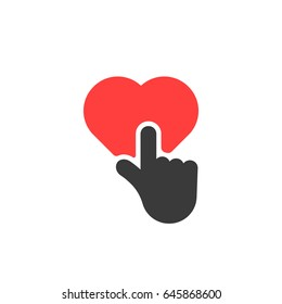 red heart button like finger pressed. concept of abstract badge for check your favorite content of popular social network. flat style trend modern logotype and graphic design symbol isolated on white