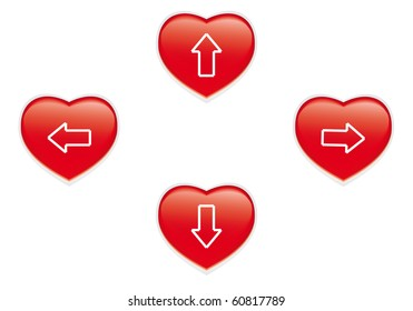 Red heart buttons isolated on white