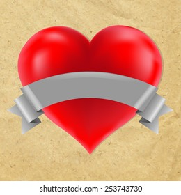 Red Heart With Cardboard Background With Gradient Mesh, Vector Illustration
