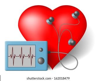 Red heart and cardiac monitor, ECG - Vector