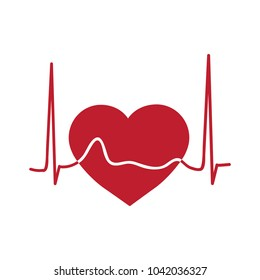 red heart and cardiogram, logo
