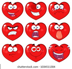 Red Heart Cartoon Emoji Face Character 1. Vector Collection Isolated On White Background