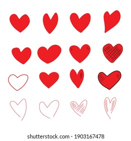 red heart cartoon hand drawn set isolated on white background