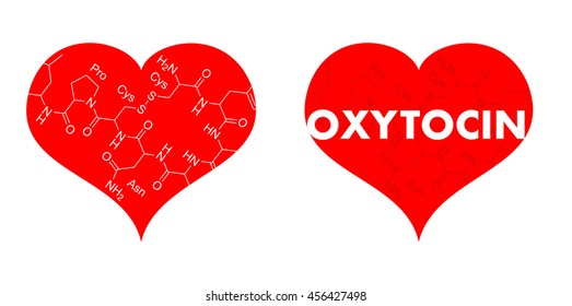 Red heart with chemical formula of oxytocin - falling in love, love and sexuality as product of chemistry. Correlation between lust, attraction, attachment and hormones and brain