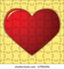 The red heart collected from puzzles. Vector illustration