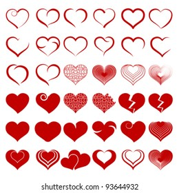Red heart collection icon, love symbol, isolated on white, vector